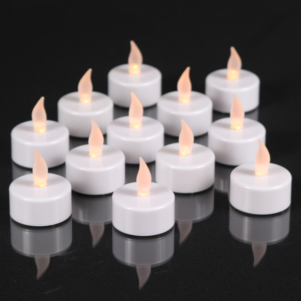 Pearl White LED Tea Lights with Flickering Amber LED - Set of 12 - Battery Operated