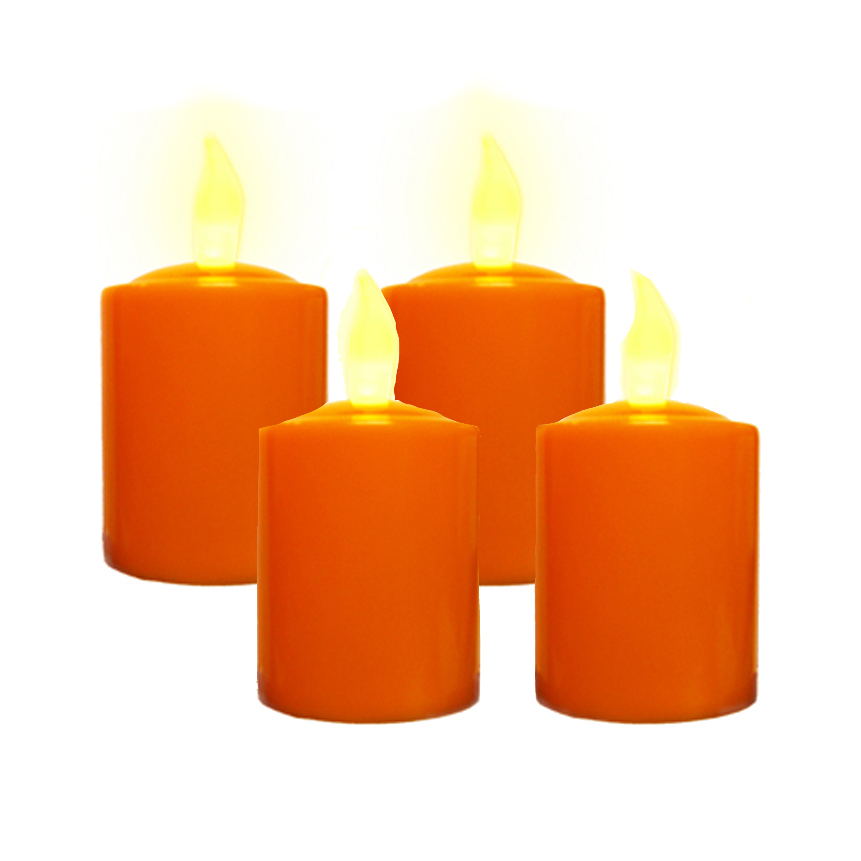 Set of 4 Pumpkin Color Votives with Flickering Amber LEDs, Battery Operated.