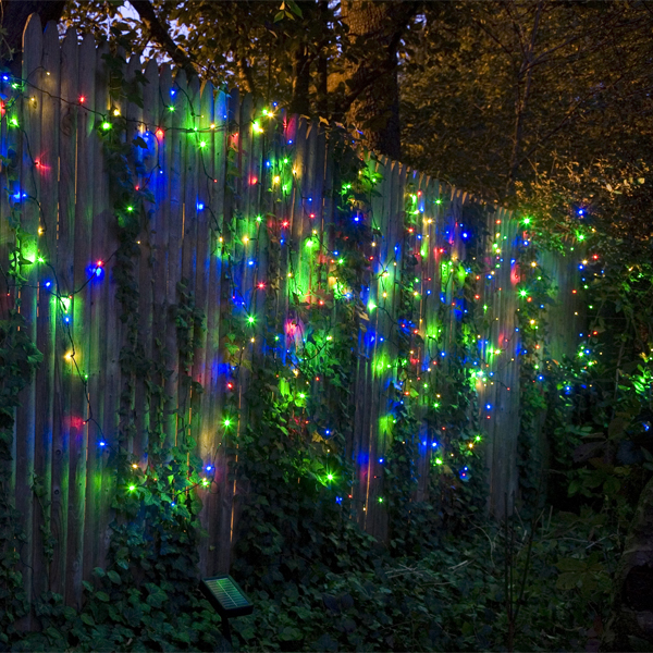Solar Stringlights, 100 Multicolor LEDs, 42 Feet Long with Green Wire, Multifunction with Memory ...
