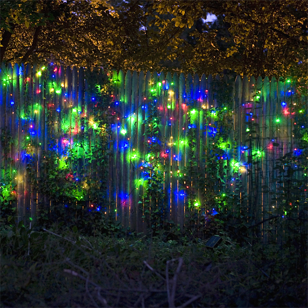 Mr. Light Solar 77 ft. Long & 200 LED Multicolor Multi-Function Stringlight with Green Wire