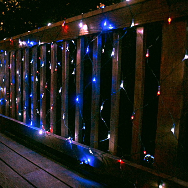 Solar String Lights, 200 Red, White and Blue LEDs, 77 Feet Long with Green Wire, Multifunction with Memory and Photo-Sensor