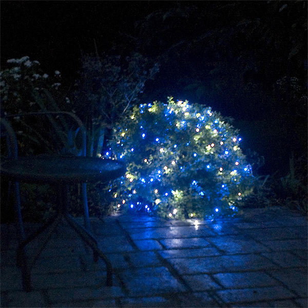 Solar Stringlights, 200 Blue and White LEDs, 77 Feet Long with Green Wire, Multifunction with Memory and Photo-Sensor