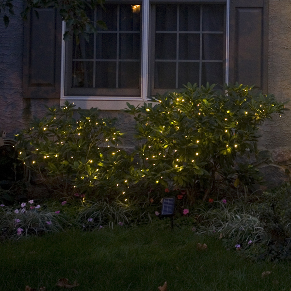 Mr. Light Solar Stringlights - 50 Warm White LEDs, 26 Feet Long with Green Wire, Multifunction with Memory and Photo-Sensor