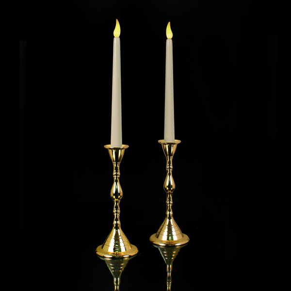 """PAIR of Tall Ivory LED """"Timer"""" Tapers; Two Real Brass Candlesticks"""