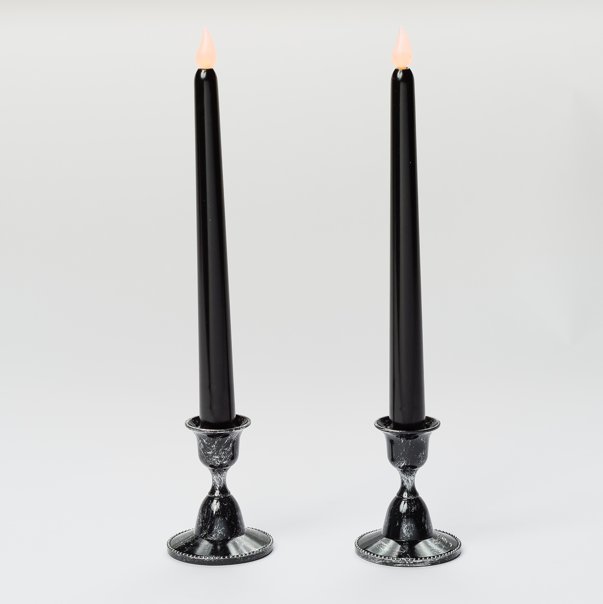 Mr. Light Pair of Black Spooky Tapers with Dark Holders and Built-in Timers - Size 10.25""