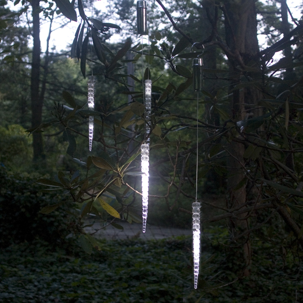 """Cascading White LED 10"""" Icicle Outdoor Ornaments - Set of 2 - Silver Plated"""