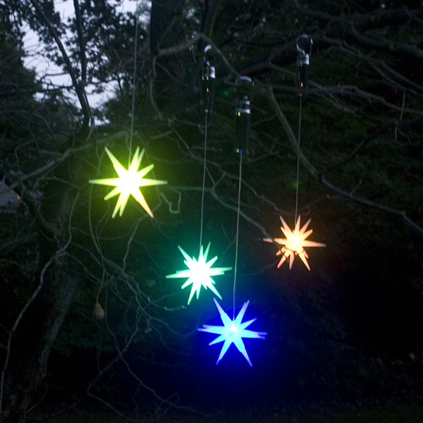"""Set of 2 Color Changing LED 8"""" Starburst Outdoor Ornaments with Timers, Green Battery Compartment"""