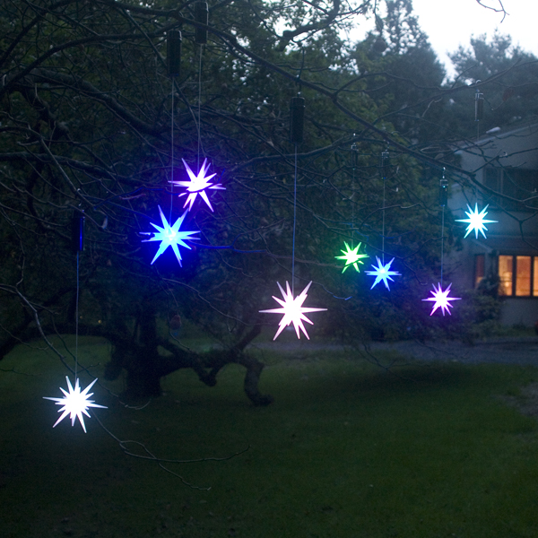 """Set of 2 Color Changing LED 4"""" Starburst Outdoor Ornaments with Timers, Green Battery Compartment"""