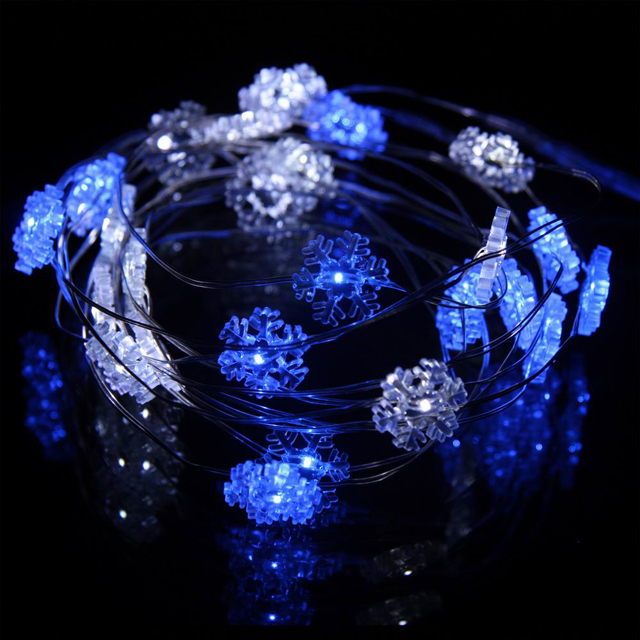 Mr. Light Acrylic Snowflake Ornament String Light Set, 25 Blue and White LEDs, 10 ft. Long, Battery Operated.
