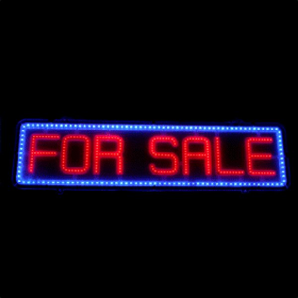 "LED ""FOR SALE"" Sign - Color Red and Blue"