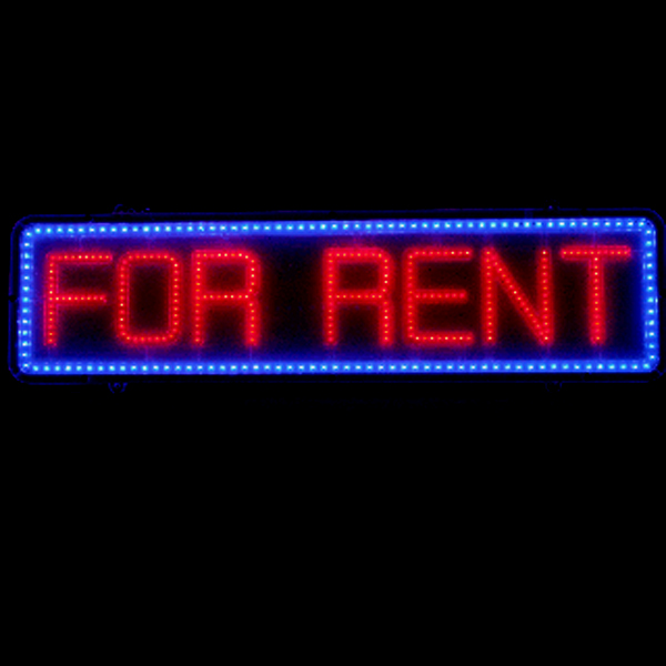 """Red and Blue LED """"FOR RENT"""" Sign"""