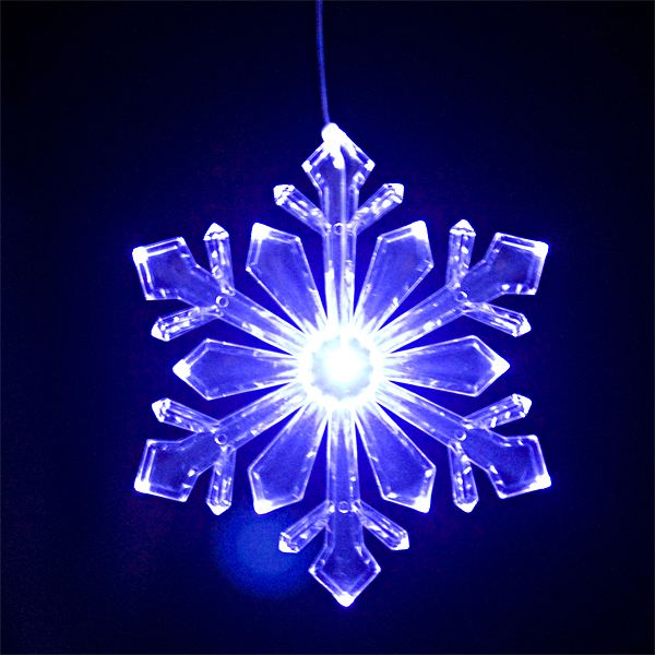 "Lighted Outdoor Snowflake Ornament (Design #1) - Size 6"" - Blue/White Transitioning LED with 6 Hr Timer"