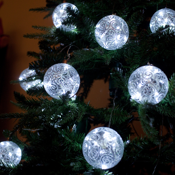 set of two 3 hand painted hand blown glass ball battery operated ornaments with timers white leds - Battery Lighted Christmas Decorations