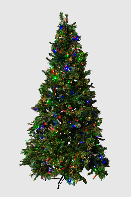 Mr. Light 7.5 Ft. Pre-Lit Artificial Tree - 500 Dual Color LEDs, Red Berries, Pine Cones, Mixed PVC Pine.