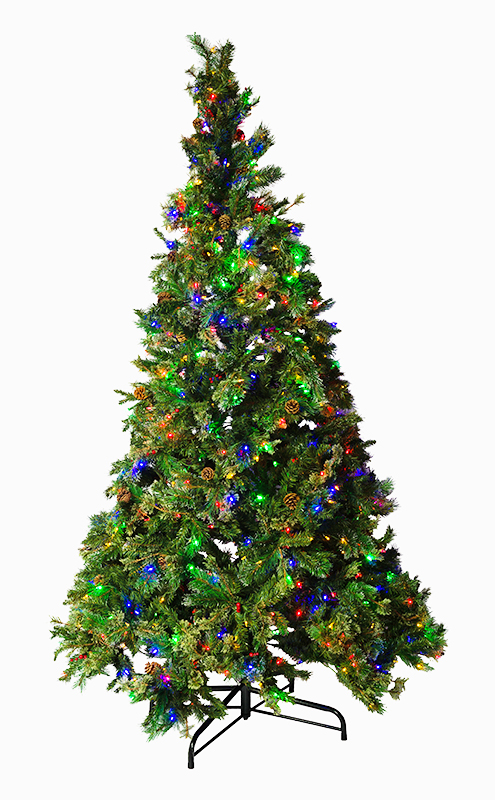 Mr. Light 8.5 Ft. Pre-Lit Artificial Tree. 600 Dual Color LED's (Switch Between Warm White and Multicolor, Steady-on, Fading, or Flashing Effects ), Berries & Pinecones, 1778 PVC & PE Tips.