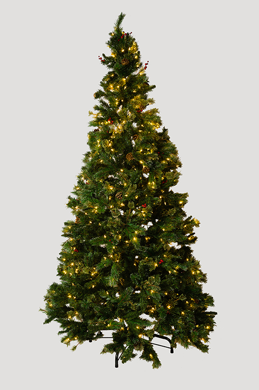 9Ft. Mixed PE & Iced PVC Decorated Tree, Total 2162 Tips, 700 Steady Warm White LEDs