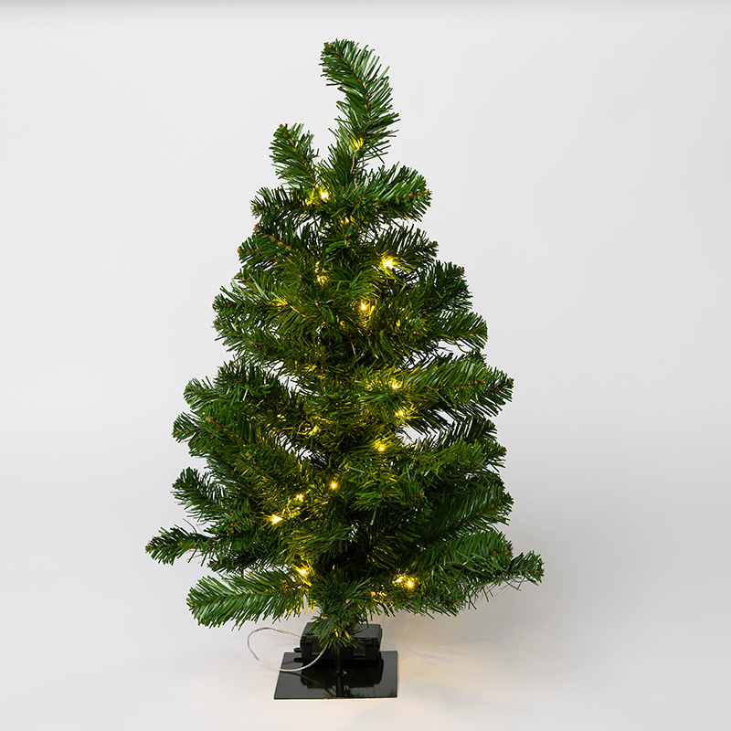 Mr. Light 2 Ft. Pre-Lit Mini Table-Top Christmas Tree. 50 Warm White LED's, Green Metal Stand + Indoor/ Outdoor Battery Box and 6 hr./ 24hr. Electronic Timer.