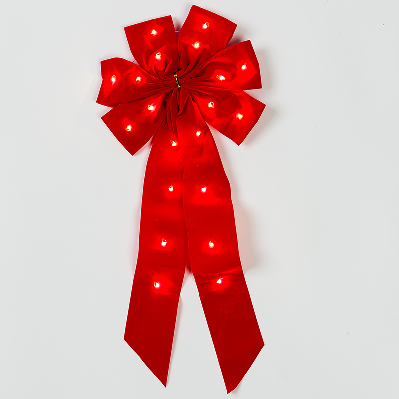 Mr. Light Pre-lit Red Fabric Bow with White LEDs - Outdoor Battery Box and Hidden Electronic 24/6 hr Timer