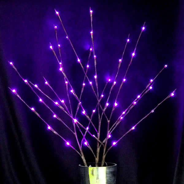 Mr. Light Lighted Branches With 60 Purple LEDs - Plug-in UL Adapter With Cord