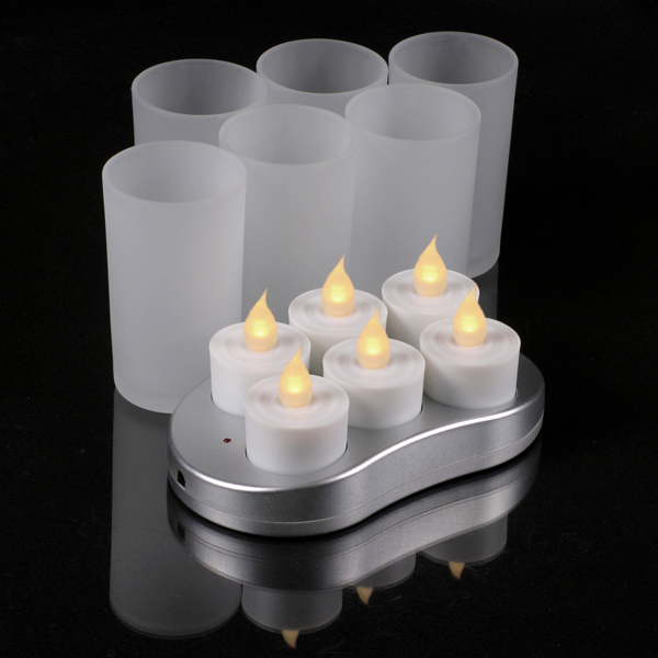 Mr. Light Complete Set of 6 Restaurant Quality Rechargeable Tealights/Flickering Amber LEDs - 6 Frosted Glass Holders and Recharge Base