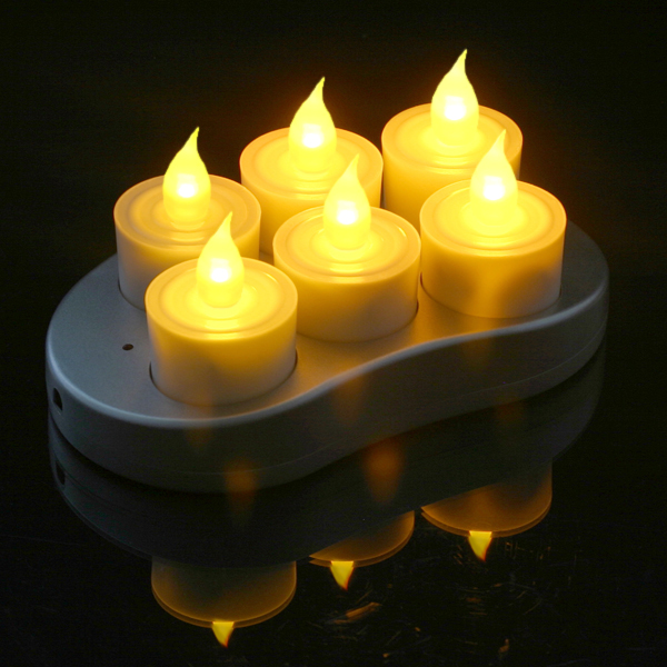 Mr. Light Complete Restaurant Quality Rechargeable Tealights/Flickering Amber LEDs with Recharge Base - Set of 6
