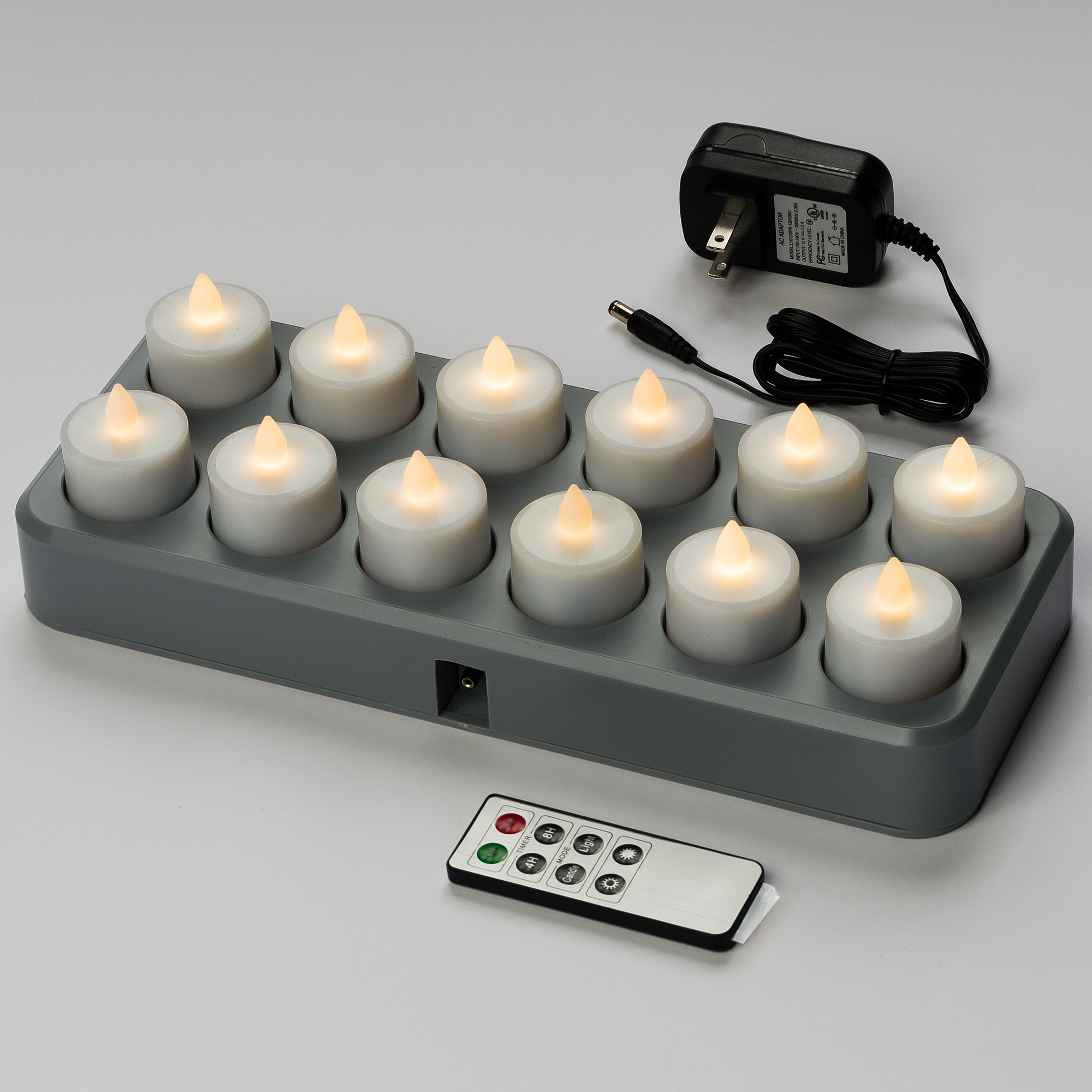 Mr. Light LED Rechargeable Tea Lights with Remote Control, Warm White and Induction Charging Base - Set of 12