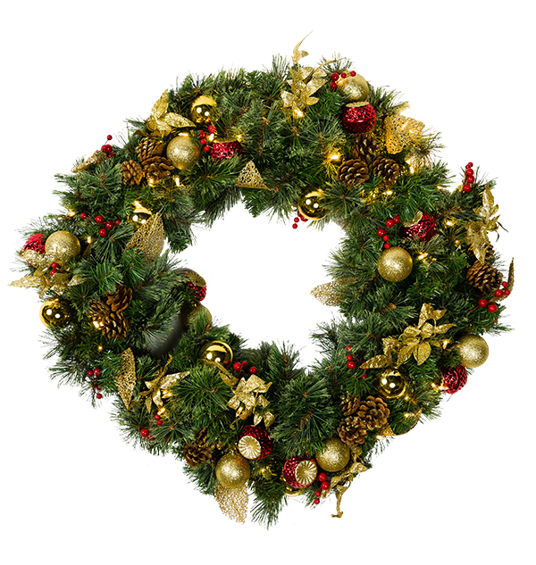 "Mr. Light 24"" Decorated Wreath, 35 Steady Warm White LED's, 24 Red and Gold Balls and Gold Leaves, Indoor/Outdoor Battery Box + Built-in 6hr/ 24 hr Auto-Restart Electronic Timer."