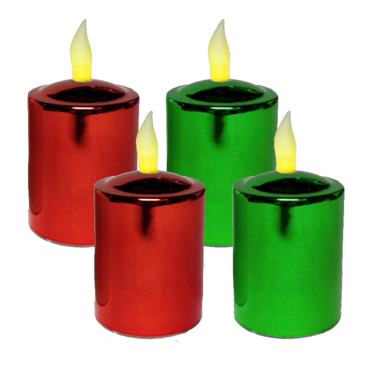Mr. Light Metallic Votive Candles with Timers, Red/Green - Set of 4