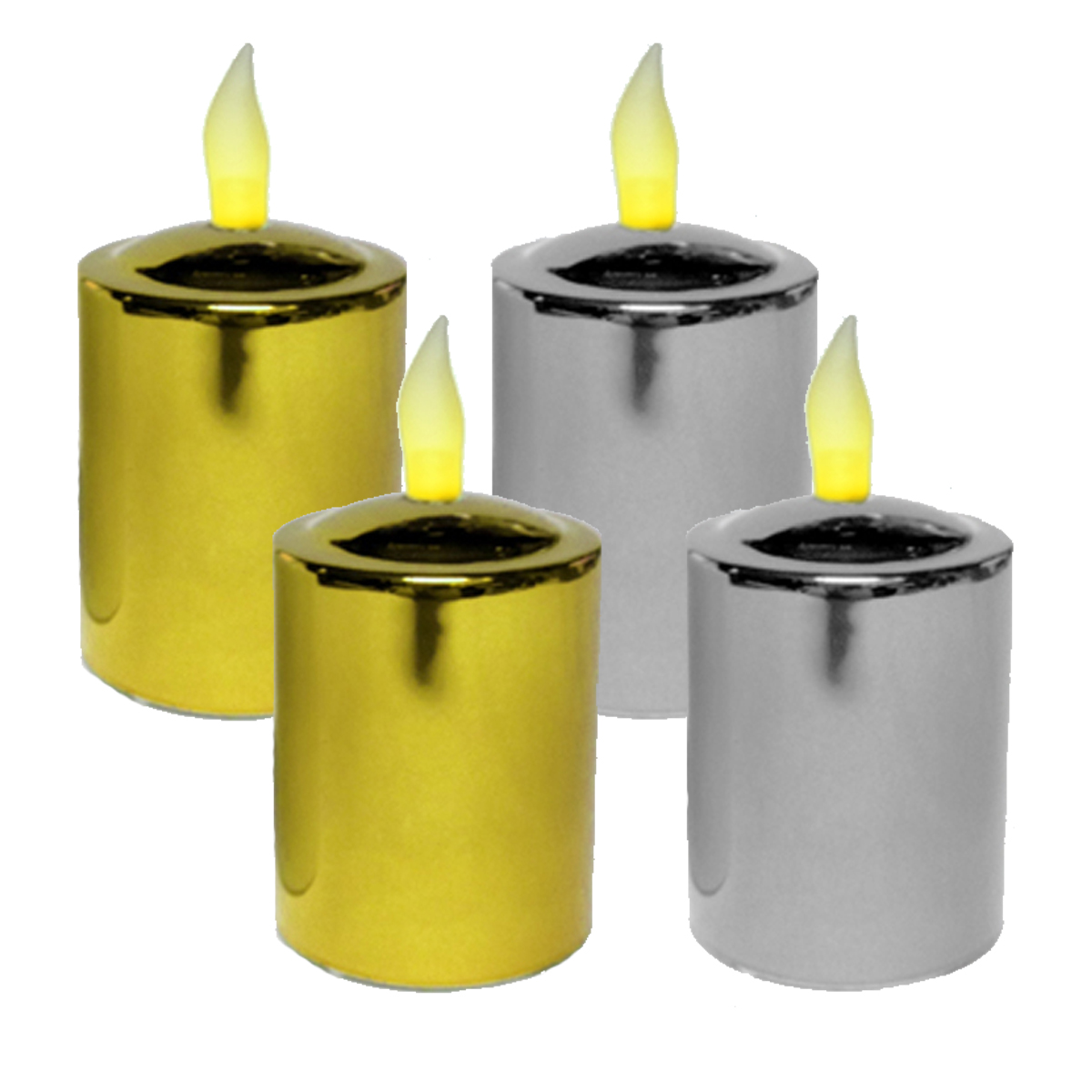 Mr. Light Set of 4 Flickering Amber LED Votive Candles, Metallic Silver (2) and Gold (2) Finish