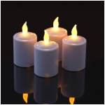 Mr. Light Pearl White Finish Flickering Amber LED Votives with Electronic Timers - Set of 4