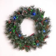 "Dual Color 35 LED 24"" Wreath with Red Berries, Pinecones, and Frosted Tips.  Change from Warm White to Multicolor at Any Time!  Battery Operated, Indoor/Outdoor."