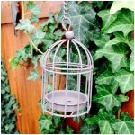 Hanging Wire Mini Bird Cage Tea Light Candle Holder - Size 4""