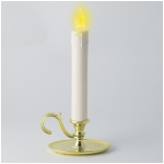 10 Inch Ivory Taper with Flickering Amber LEDs - Touch Switch- Brass Colored Plastic Oil Lamp