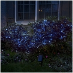 Solar String Lights, 100 Blue LEDs, 42 Feet Long with Green Wire, Multifunction with Memory and Photo-Sensor