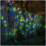 Solar Stringlights, 100 Multicolor LEDs, 42 Feet Long with Green Wire, Multifunction with Memory and Photo-Sensor