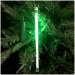 "24 LED Double Sided Green Cascading Icicle Ornament with 10"" Hanging Cord"