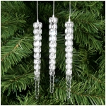 White Cascading LED Icicle Indoor Tree Ornaments - Set of 3 - Extra Batteries Included
