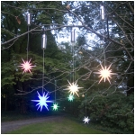 "Set of 2 Color Changing LED 8"" Starburst Outdoor Ornaments with Timers, Silver Battery Compartment"