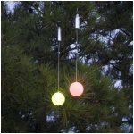 Color Changing LED Light Snow Ball Outdoor Ornaments with Timers, Set of 2