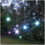 "Set of 2 Color Changing LED 4"" Starburst Outdoor Ornaments with Timers, Silver Battery Compartment"