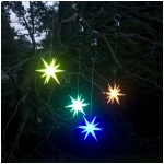 "Set of 2 Color Changing LED 8"" Starburst Outdoor Ornaments with Timers, Green Battery Compartment"