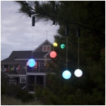"Set of 2 Color Changing LED 3"" Glowing Ball Outdoor Ornaments with Timers, Green Battery Compartment"