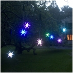 "Set of 2 Color Changing LED 4"" Starburst Outdoor Ornaments with Timers, Green Battery Compartment"