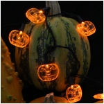Mr. Light halloween LED String Light Set with 15 Large Pumpkin Ornaments - 2 inches Diameter Each, 8 Ft Long - Battery Operated