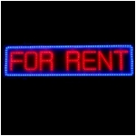 "Red and Blue LED ""FOR RENT"" Sign"