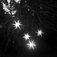 "Single 4"" Frosted Starburst Outdoor Lighted Ornament, Bright White LED with Timer"