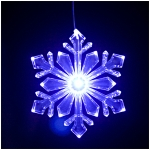"Lighted Outdoor 6"" Snowflake Ornament (Design #1) - Blue/White Transitioning LED with 6 hr Timer"