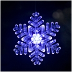 "Lighted Outdoor Snowflake Ornament (Design 2) - Size 6"" - Blue/White Transitioning LED with 6 Hr Timer"