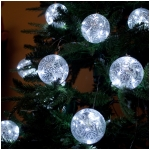 "Set of Two 3"" Hand-Painted, Hand-Blown Glass Ball Battery Operated Ornaments With Timers, White LEDs"