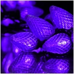 100 Purple LED C9 Linkable String Lights with Black Wire - 5' Lead Wire, Total Length 37.5 Ft.